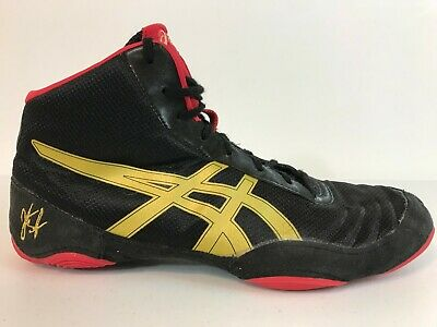 Asics JB Elite V2.0 Wrestling Shoes Mens Size 10.5 EUR 43.5 Black Red Gold J501N