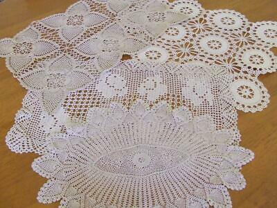 Four Beautiful Vintage Hand Crocheted Ecru Table Centres