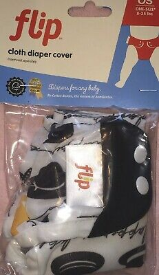 Flip by BumGenius Chaplin Hat Print OS Cloth Diaper Cover Snap NWT NIP 8-35 lb