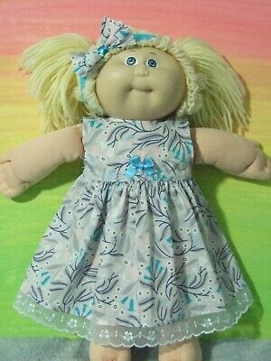 "16"" CABBAGE PATCH Dolls Clothes / DRESS*HEADBAND / aqua tulips"