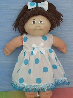 "16"" CABBAGE PATCH Dolls Clothes / DRESS*HEADBAND / Large Blue Spots"