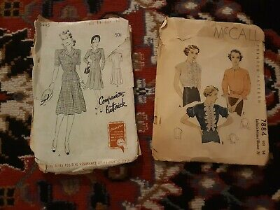 Vintage Lot Of Two Patterns Size 14 ! Butterick Suit 1942 And MCCallls Blouse...