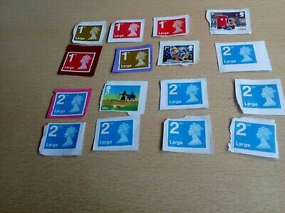 6x1st class and 10x2nd class large letter stamps on paper. All are perfect!