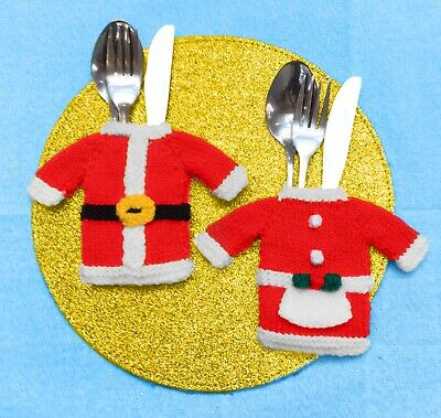 KNITTING PATTERN - Father and Mother Christmas Cutlery Holders - Santa