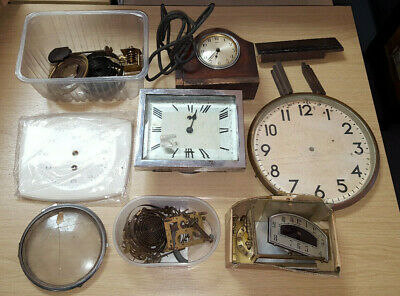 Job Lot Various Vintage Clocks Parts, Movements Spares/Repair Free Post
