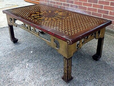 Antique Chinese Republic period lacquer brown gold coffee occasional side table