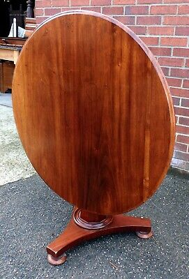 William IV antique Regency solid mahogany round tilt top compact dining table