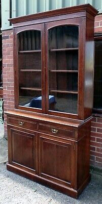 Victorian antique Arts Crafts solid oak adjustable library bookcase cabinet &key