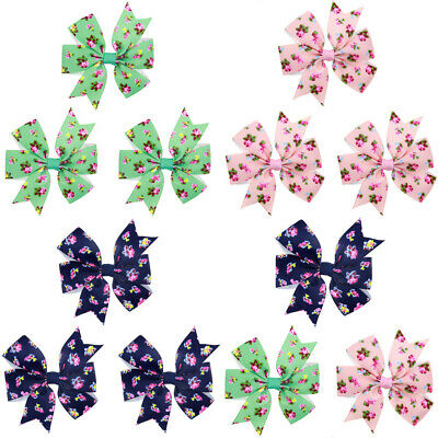 3 PCS Kids Baby Floral Printed Bow Hair Clips Children's Cute Hairpin Headwear