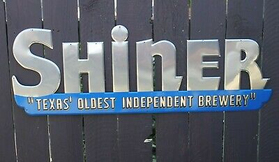 "RARE Shiner Bock Silver Blue Tavern Pub Bar Beer Metal Tin Sign Texas 42""x 15"""