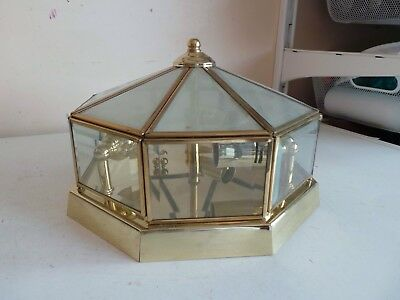 Art Deco Style Old Gold Brass & Glass Octogonal Dome Ceiling Pendant Light Shade