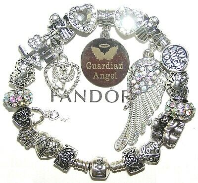 AUTHENTIC Pandora 925 Silver Bracelet with GUARDIAN ANGEL, LOVE, European Charms