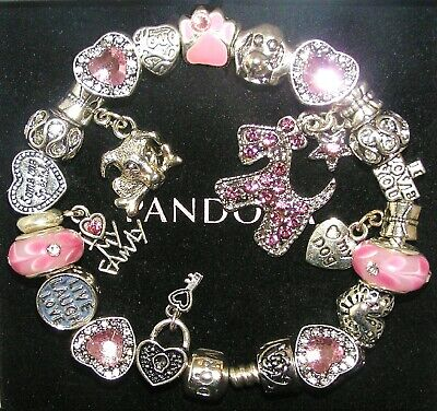 Authentic PANDORA Bracelet Silver with LOVE MY DOG, PINK CRYSTAL European Charms