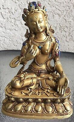 Antique Chinese Bronze Female Buddha Statue Gold Gilded 17th Century Qing Dynast