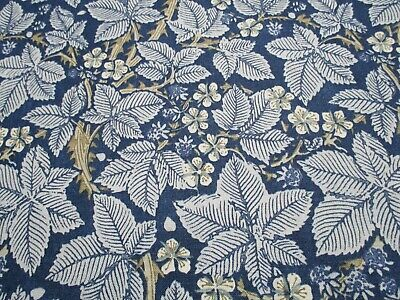 William Morris Curtain Fabric 'BRAMBLE' 1 METRE (100cm) Indigo/Mineral  Linen