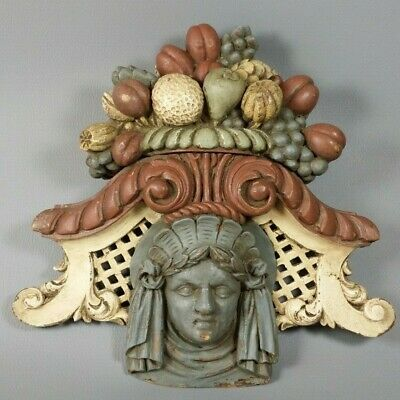 Antique Italian Hand Carved Figural Maiden Wood Architectural Pediment Salvaged