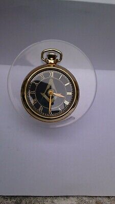 Rare Vintage  Smiths Masonic Dial Pocket Watch with Albert chain in G.W.O