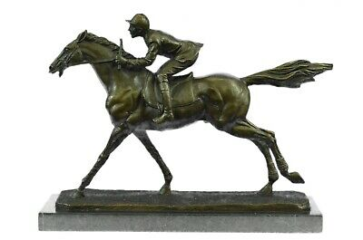 Bronze Delaware Park Horse Racing Equestrian Bronze Jockey On Race Horse Marble