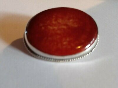 Solid Silver  Chester Hallmark Charles Horner Mottled Rust. Colour Brooch