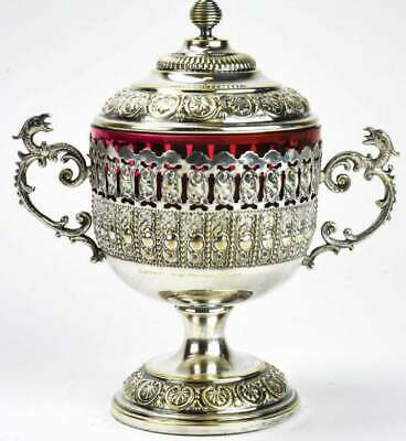 Victorian Style Figural Handled Silver Plate With Ruby Colored Glass Covered Jar