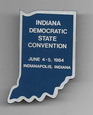 1984 Indiana Democratic State Convention Plastic Clip On Badge Button