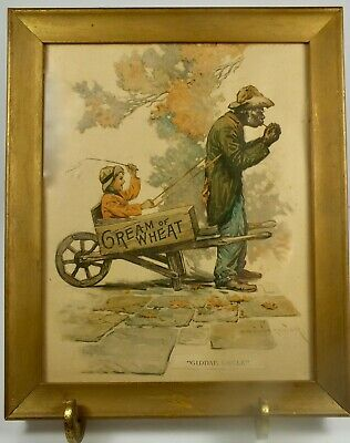 """Signed Black Americana Framed Cream Of Wheat Advertising Print """"Giddap Uncle"""""""