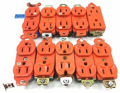 Mixed Lot Of 10 Leviton Hubbell Ps Receptacles Outlets 15A 125V B1177