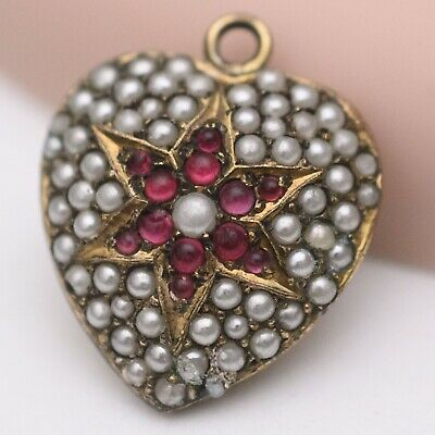 Antique Victorian Gold Seed Pearl Paste Star Puffy Heart Cluster Charm Pendant