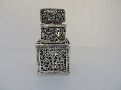 SIGNED 19th c PERSIAN ISLAMIC QAJAR SILVER OVERLAY PERFUME GLASS BOTTLE BY JAFAR