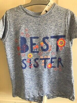 BNWT Nutmeg 'Best Sister' Lightweight T-Shirt. Girls. Age 18 Months - 4 Years