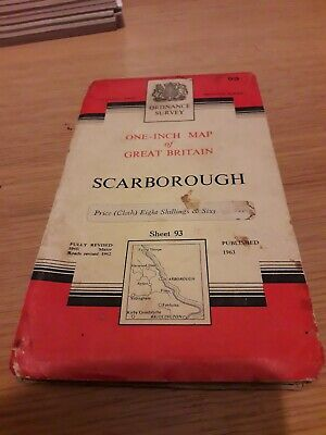 Vintage Ordnance Survey One Inch Cloth Map of Scarborough (1963)