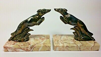 French Antique ART DECO Pair Bookends Spelter Bronzed Borzoi Dogs Marble Base