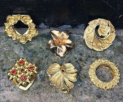 Vintage Gold Tone Scarf Clips Job Lot x6 Retro Collection Kitsch Floral Leaves