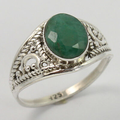 Handmade Art Ring Size US 7.75 EMERALD Dyed Faceted Gemstone 925 Sterling Silver