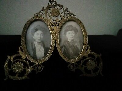 Charming Edwardian, Art Nouveau , Fully Marked Brass Double Photo Frame