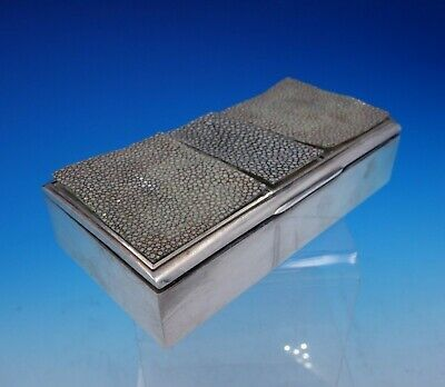La Pierre Sterling Silver Cigarette Box Faux Leather / Vinyl Wood Liner (#3798)