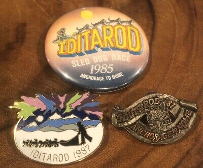 Lot 3 IDITAROD ALASKA 1987 PEWTER TIE TACK PIN THE LAST GREAT RACE Sled Dog Nome