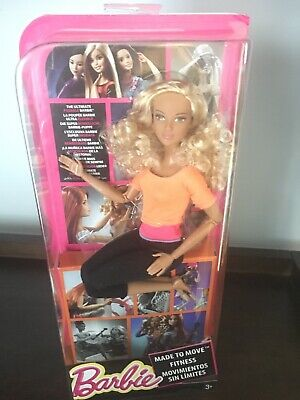 Mattel 2015 Made To Move Barbie Doll,New,Ultra Flexible,Blonde Curly,Orange Top