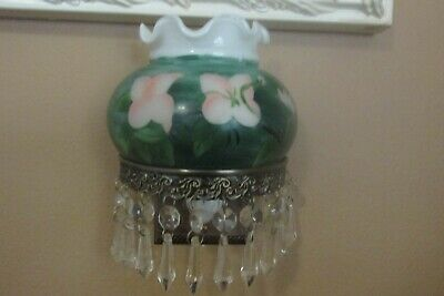 Vintage Milk Glass Hand Painted With 9 Prisms Night Light, Beautiful