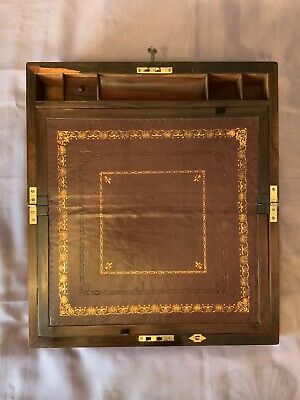 Victorian Writing Slope/ Box With Secret Drawers And Working Lock And Key