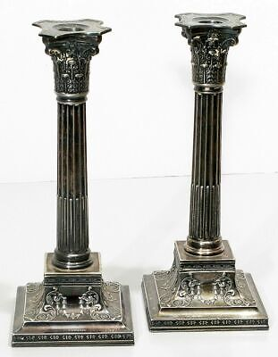 "Antique Victorian Wilcox International Silver Plated 11"" Column Candlesticks"