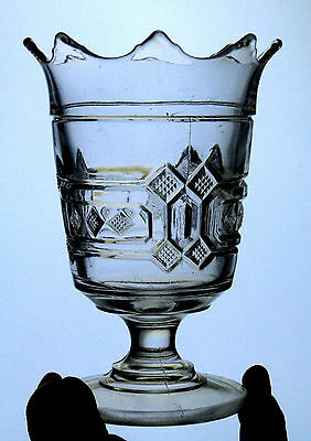 EAPG antique LOZENGES scalloped footed SPOONER VASE square triple diamond 1880s