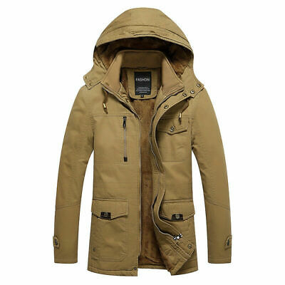 Mens Winter Thick Jacket Wool Lined Warm Hooded Coat Outdoor Military Plus Size