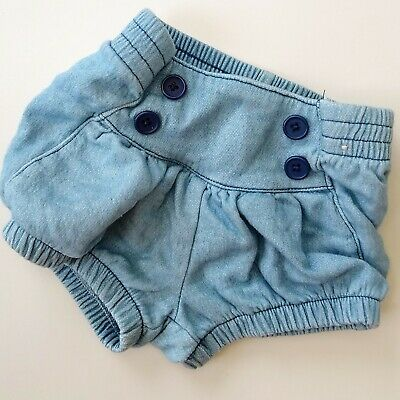 Soft Blue Denim Baby bloomers Shorts Denim Cut Offs So Cute 3 Months By...