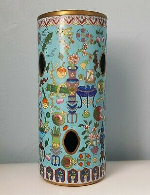 Chinese Antique Vintage Cloisonne Hatstand Vase Qing Dynasty 19th C. X-REAR