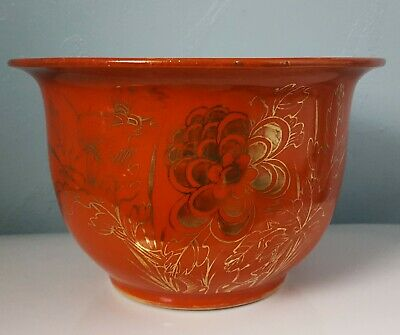 Chinese Antique Red Coral Glaze Porcelain Planter Vase Qing Dynasty 19th C.