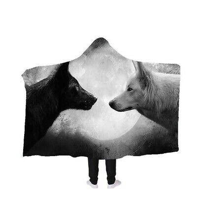 Hooded Blanket Cloak Cape Thick Double-layer Plush 3D Printed Abstract Wolf Lion