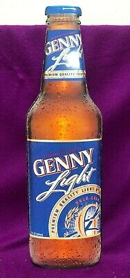 "Genny Light Beer Tin Metal Sign 24"" High tin Cut Out"