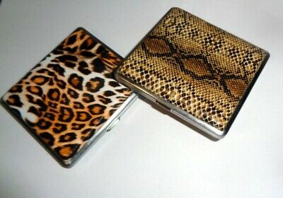 Snake or Leopard Skin Design Metal Cigarette Case Smoke Holder Slim Holds 20pcs