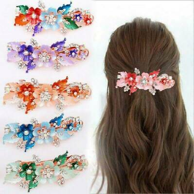Flower Barrettes Crystal Hair Clip Cute Hairpin Women Party Headwear Accessories